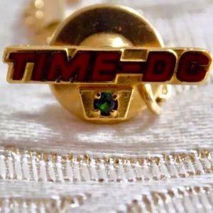 Other - Vintage HALTOM 10K Gold TIME-DC Tie Tack w/EMERALD